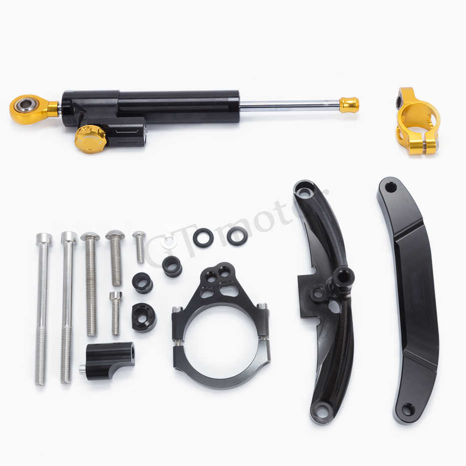 Yamaha FZ1 FAZER 2006-2015 Steering Damper Stabilizer Buffer Control With Mounting Bracket Support Kit Full Set Including Hardware Holder For Safety Control Riding Color Black-RoadMad