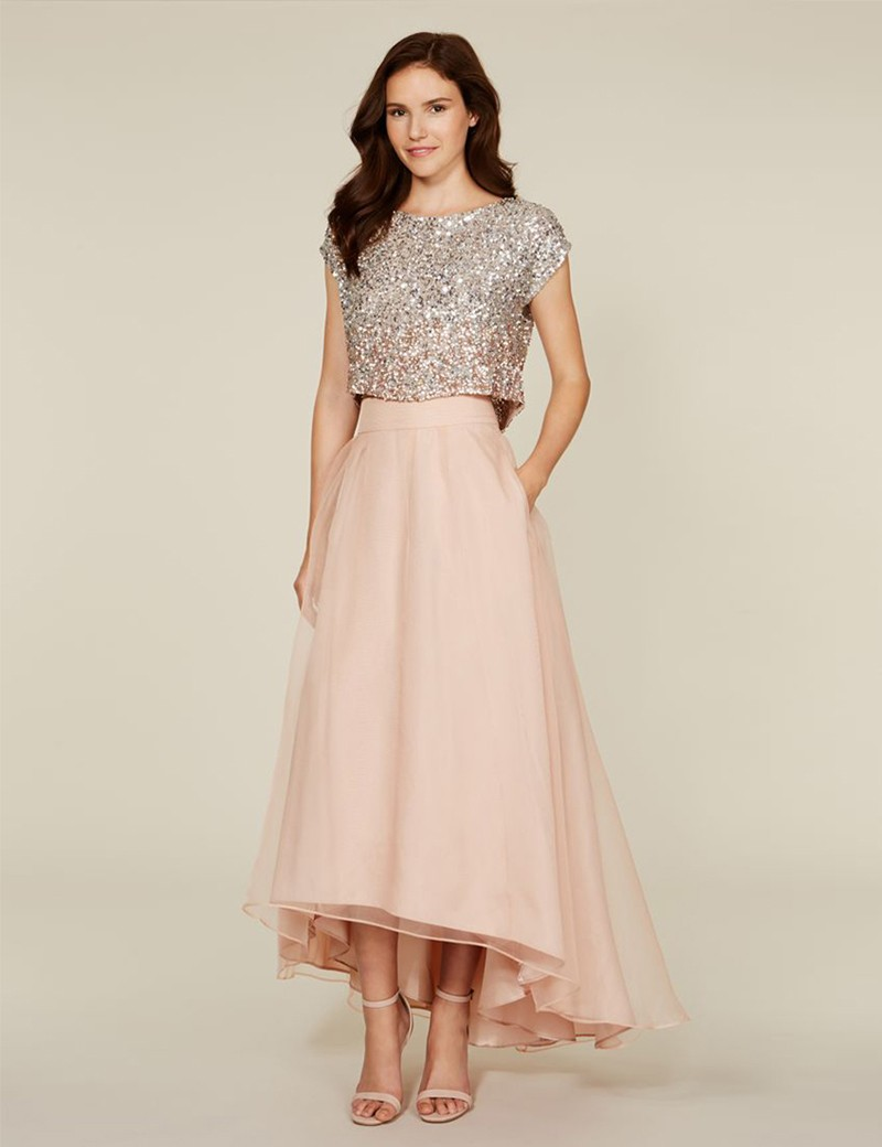 Blush Pink Two Pieces   Bridesmaid     Dresses   Sexy High Low Bling Wedding Party Gowns For   Bridesmaid
