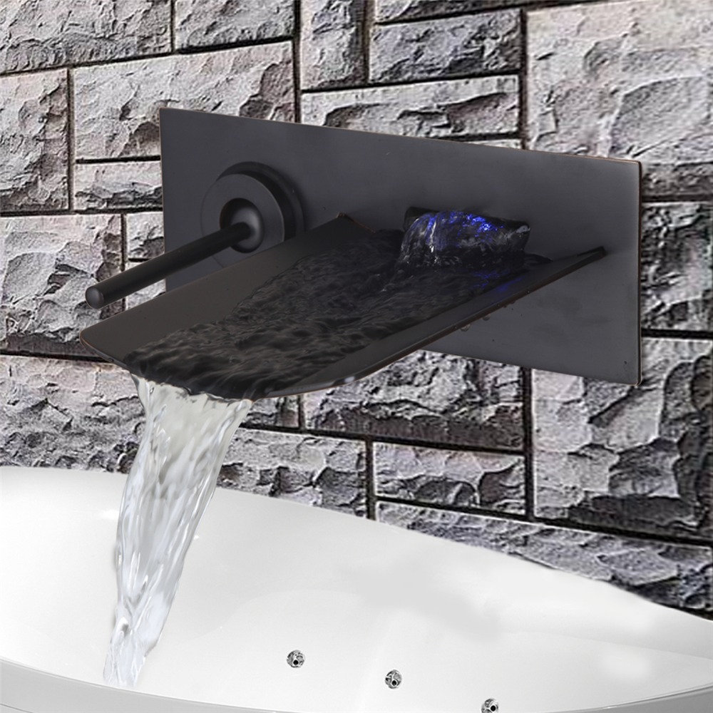 LED Colors OIil Rubbed Brozen Waterfall Bathroom Basin Spout Sink Faucet Wall Mounted Single Handle Mixer Tap oil rubbed bronze finished bathroom sink faucet single handle waterfall spout tub mixer tap wall mounted