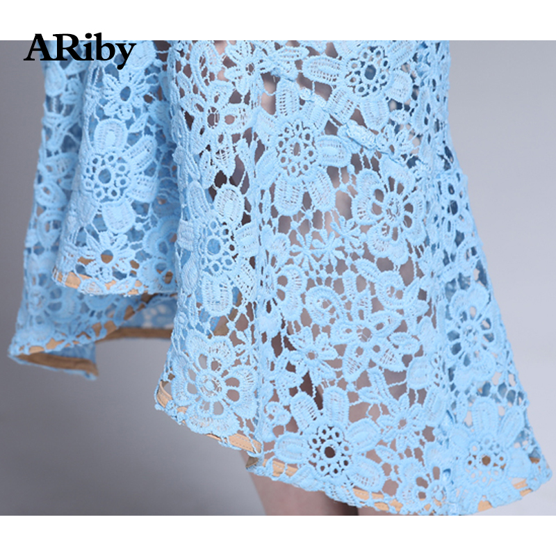 ARiby Women Bodycon Fishtail Lace Elegant Slim Dress 2019 Summer New Fashion Lace Hollow Out Short Sleeve Solid Mid Calf Dress in Dresses from Women 39 s Clothing