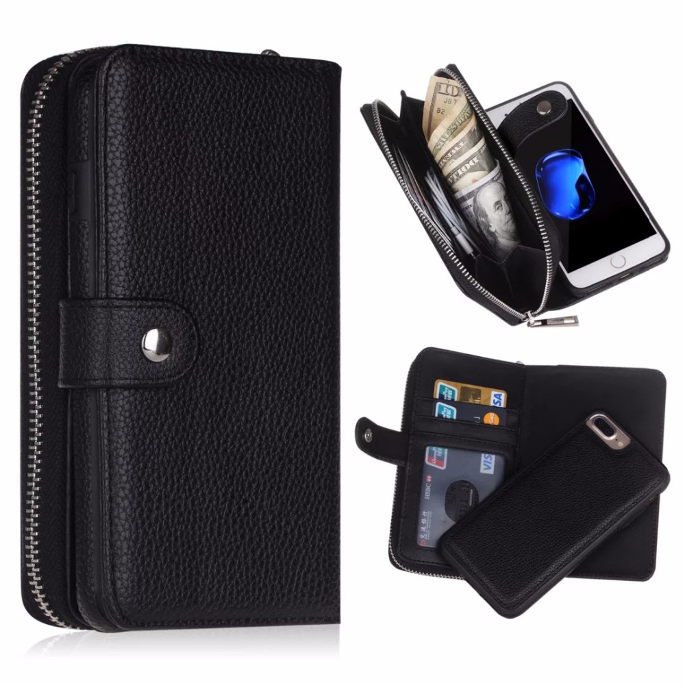 imágenes para Lujo 2 en 1 del tirón del cuero case fundas de la sfor iphone 7 case para iphone 7 plus teléfono celular monedero bolsa cubierta de coque Capa