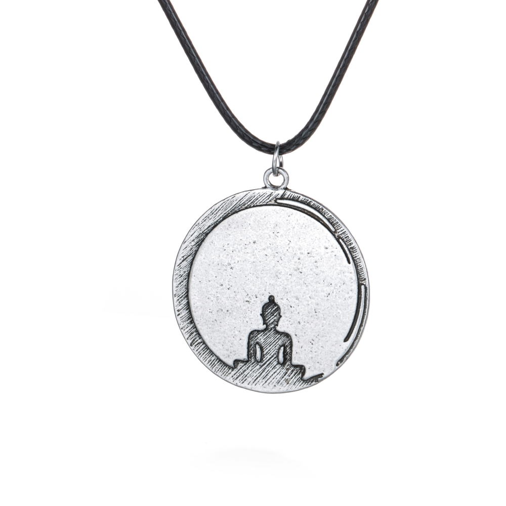 1pcs Yoga Meditation Necklace Pendant Budda Buddist Lotus Om Charm Spiritual Power Necklaces Pendant Antique Silver Gift Women
