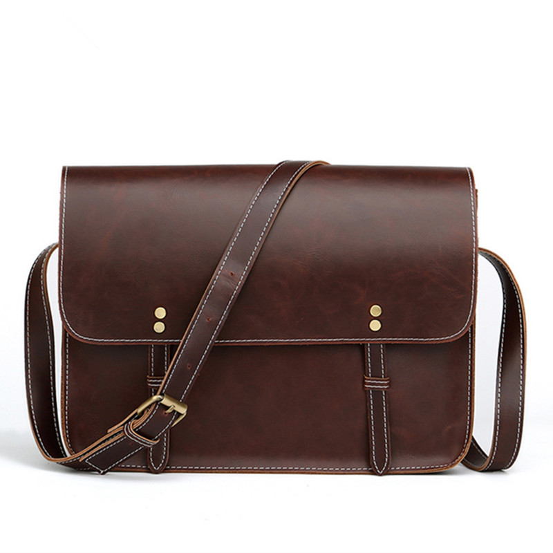 2019 Crazy Horse Leather Men's Briefcase Vintage Shoulder Bags Classic Designer Laptop Bag Business Crossbody Travel Bags