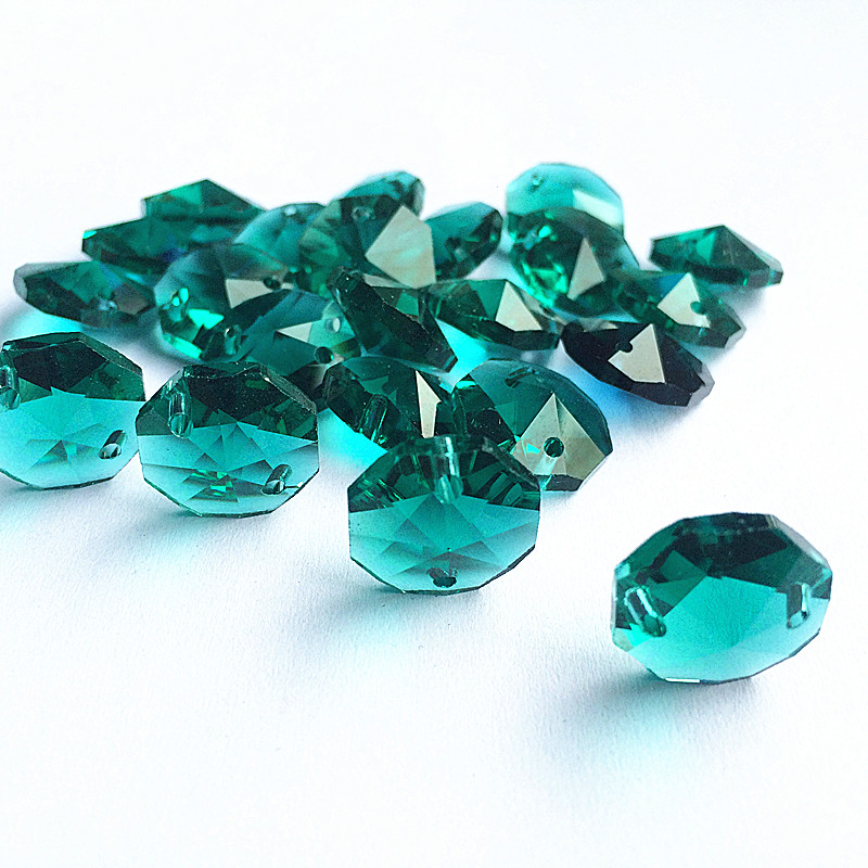 100pcs Green Zircon Color 14mm Crystal Octagon Chandelier Accessories In Two Holes(Free Rings)Diy Glass Strand Garland Beads