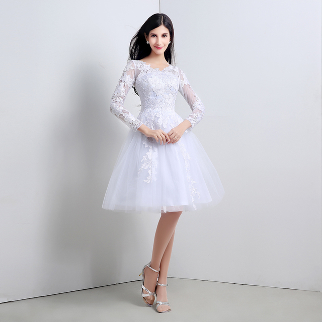 55 - Vestido De Noiva Curto Elegant White New Knee Length Lace Short  Wedding Dress With Long Sleeves Bridal Gowns For Weddings 000fbc809109