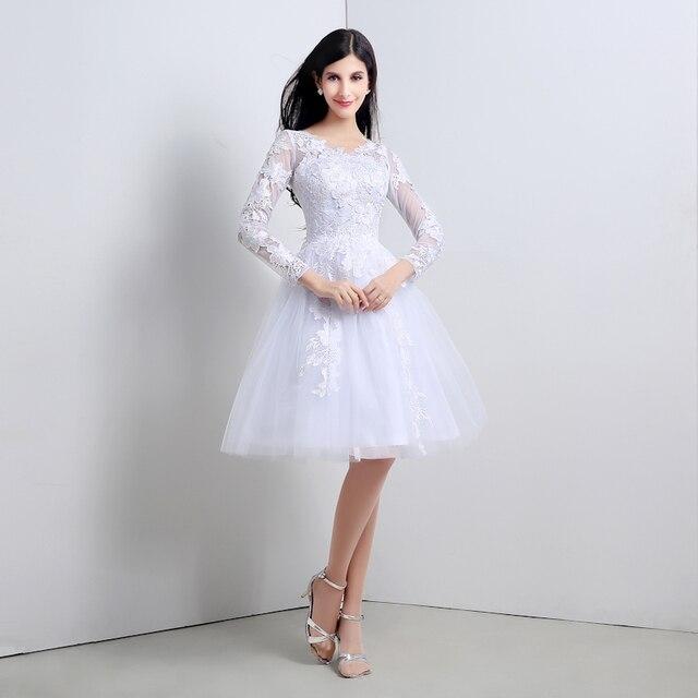 12203cf22f205d0 55 - Vestido де Noiva курто элегантный белый колен кружева короткое  свадебное платье с длинными