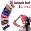 2013 nueva moda mujeres amplia borde grande Floppy Fold Summer Beach Sun Straw Hat Cap 11 colores liberan el envío