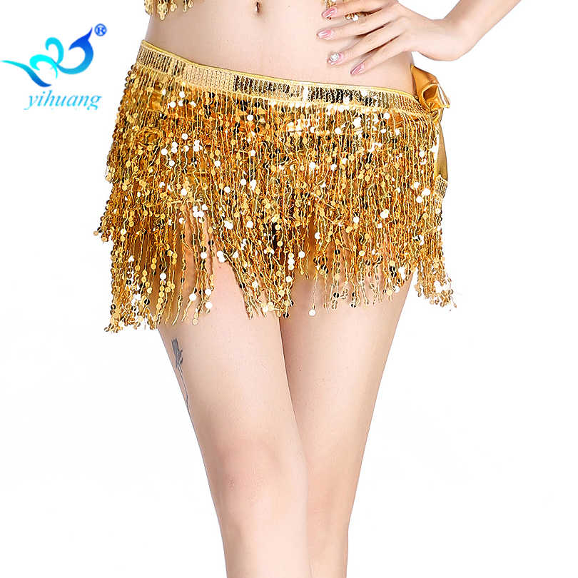 b9fae6d50 Belly Dancing Hip Scarf Sparkle Shine Sequin Wrap Skirt Belly Dance Costume Belt  Stage Show Dance