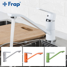 FRAP Kitchen Faucet green orange white kitchen sink faucet 360 rotation water mixer tap faucet deck mounted sinle handle faucets frap white spray painting kitchen faucet seven letter design 360 degree rotation with water purification features f4352 8