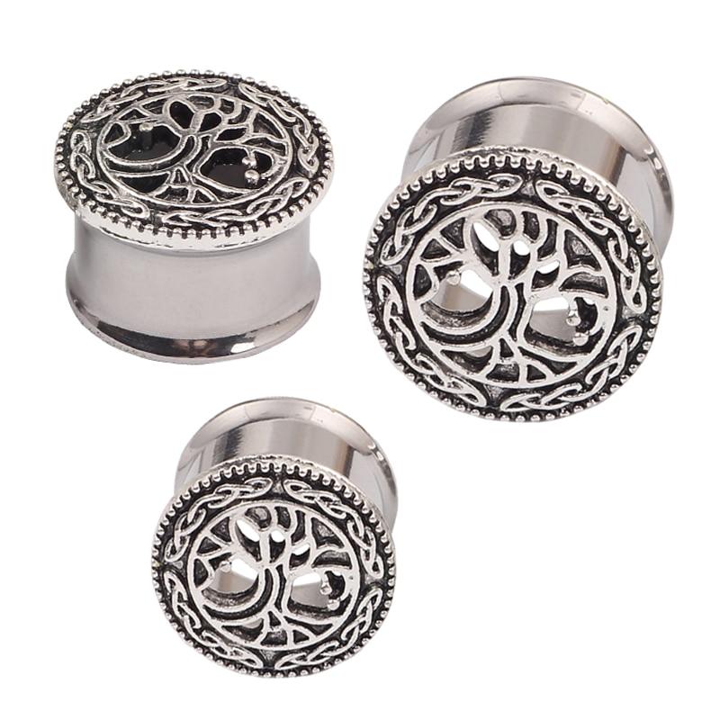 Tree ear plugs silver double flare body jewelry man woman ear piercing 2pcs sales font b