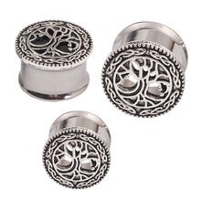 Tree ear plugs silver double flare body jewelry man woman ear piercing 2pcs sales earring stretcher expander