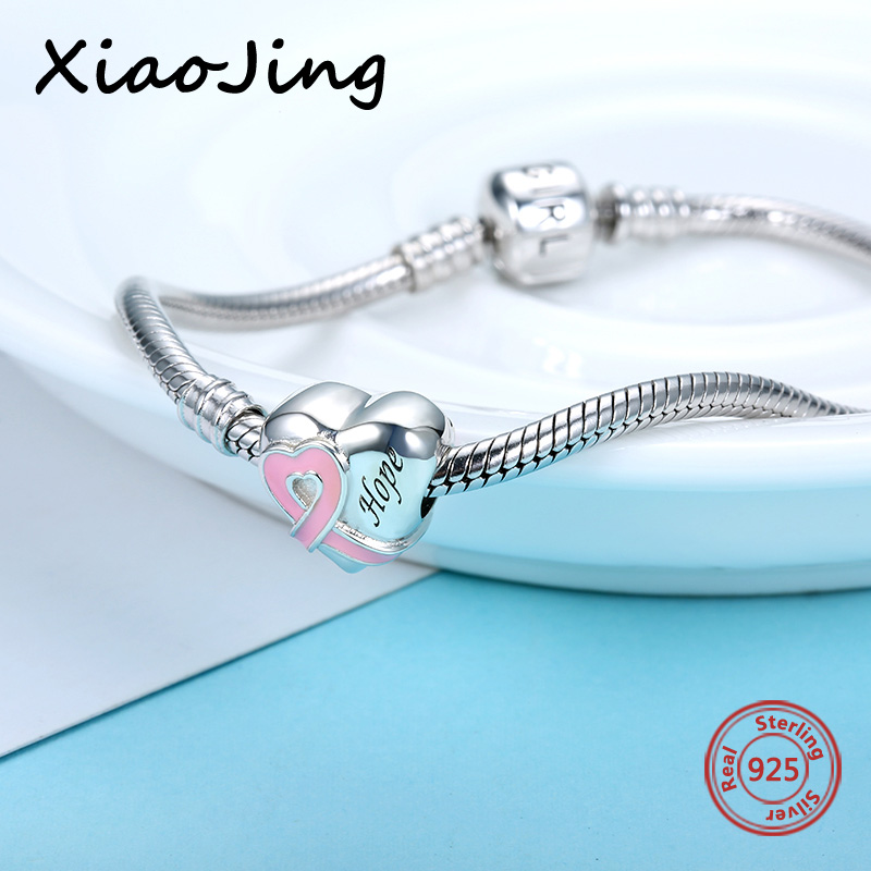 925 sterling silver Beads Heart Shape Belt Pink Enamel Charms fit pandora charm bracelet fashion jewelry Making for women gifts in Beads from Jewelry Accessories