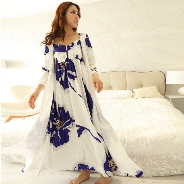 d33edc5f3fcd Nightdress Women Sleepwear Silk Satin Flower Nightgown Sexy 2 Pieces Set  Female Sleepwear Nightwear Home Clothing Free Shipping