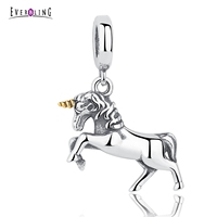Spirit Unicorn Horse Animal 100% 925 Sterling Silver Charm Beads Fit European Charms Bracelet & Bangles Accessories