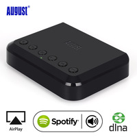 August WIFI Wireless Audio Receiver Airplay DLNA Multi room Wireless Music Adapter for traditional HiFi Speakers Spotify WR320