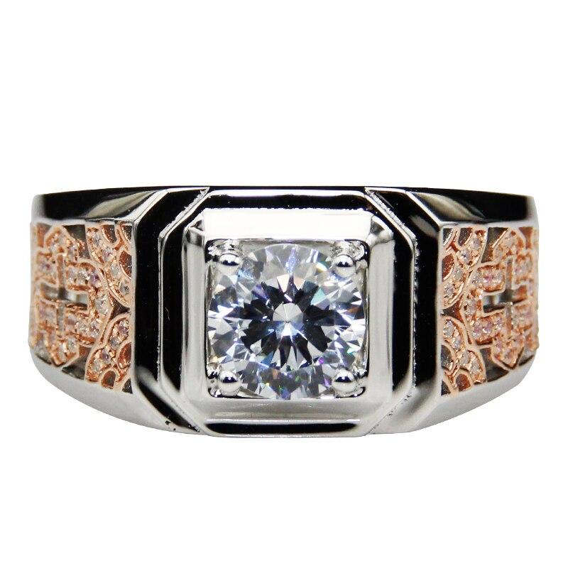 Bague de fiançailles Moissanites Style chinois Vintage 9K 14K deux tons or 1.7cttw Moissanites Lab cultivé diamant alliance homme