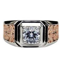 Vintage Chinese Style Moissanites Engagement Ring 9K 14K Two tone Gold 1.7cttw Moissanites Lab Grown Diamond Man's Wedding Band