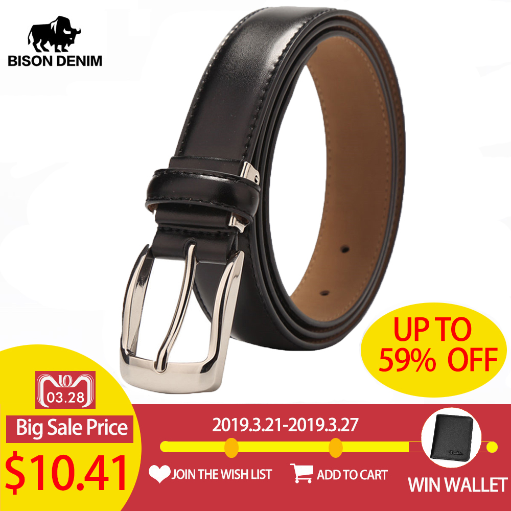 BISON DENIM High Quality Cow Leather   Belt   For Men Business Strap Men's   Belt   Cowskin Casual   Belt   Gift W71122