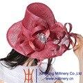 June'syoung 2015 verano nueva moda Sinamay sombreros 100% Sinamay estampado de flores de verano sombrero de la iglesia Manual puro señora Casual sombreros de ala