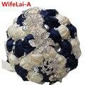 Personalizado Nuevo Azul Oscuro Crema Nupcial Ramo de La Boda de Diamante Holding Ramos de Flores Broche de Novia para el Matrimonio Impresionante W228