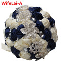 You Custom New Dark Blue Cream Bridal Wedding Bouquet Diamond Holding Flowers Brooch Bridal for Marriage Stunning Bouquets W228