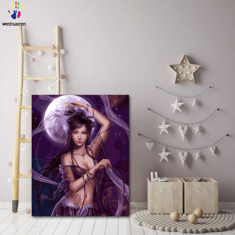 DIY colorings pictures by numbers with colors The goddess of the moon picture drawing painting by numbers framed Home