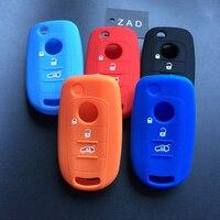 ZAD Car Key Case Cover For Fiat 500X Toro Tipo Egea 3Button Remote Holder Flip Folding Silicone Protector For Dodge Neon Key car key case cover key case for car car remote key covers -