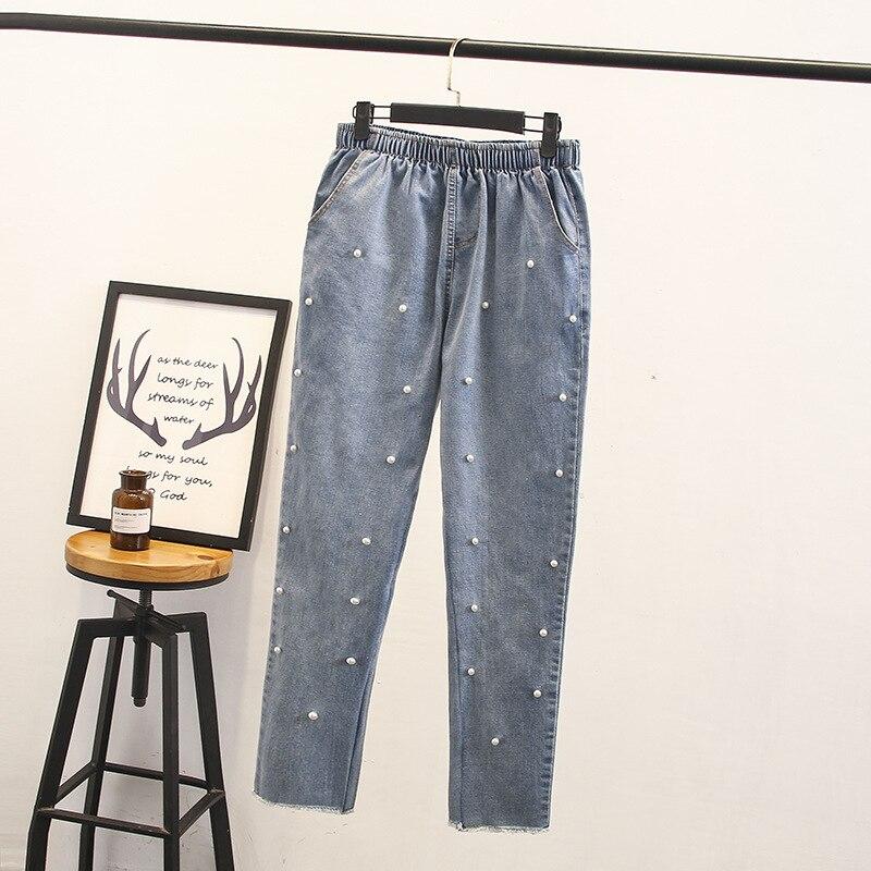 2018 Women Jeans Plus Size 3XL Women Denim Jeans Pearl Beading Elastic Waist Women Jeans 4XL Big Size Pants Femal Trousers
