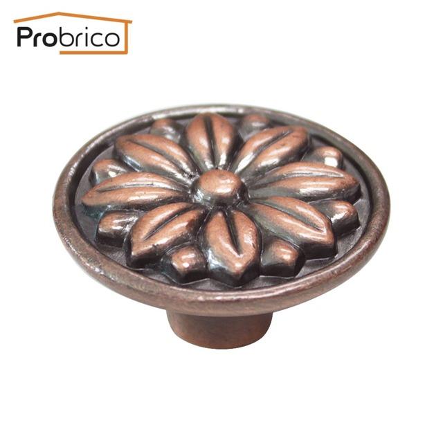 Atacado 100 PCS PS7231AC Probrico Liga de Zinco de Bronze Antigo Armário de Cozinha Do Punho Do Vintage Flor Redonda Botão Gaveta Móveis