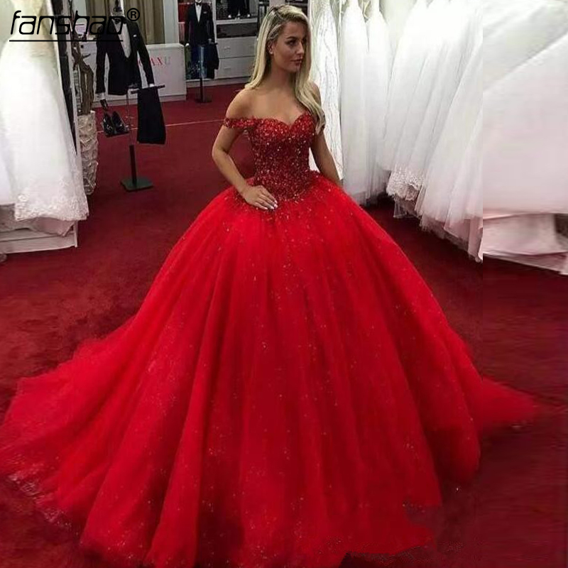 2020 Red Sweetheart Quinceanera Dresses ball gown Appliques Lace Up Sweet 16 Dresses Vestidos De 15 Years