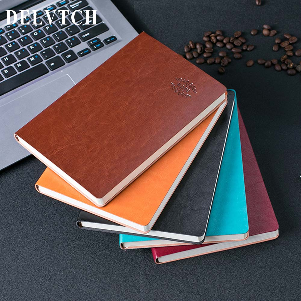 DELVTCH A5 PU Leather 120 Sheets Business Notebook Daily Weekly Monthly Planner Agenda Notebooks Journal Stationery Supplies creative art fashion a6 journal planner book weekly monthly daily page blank paper pu leather diary notebook gift free shipping