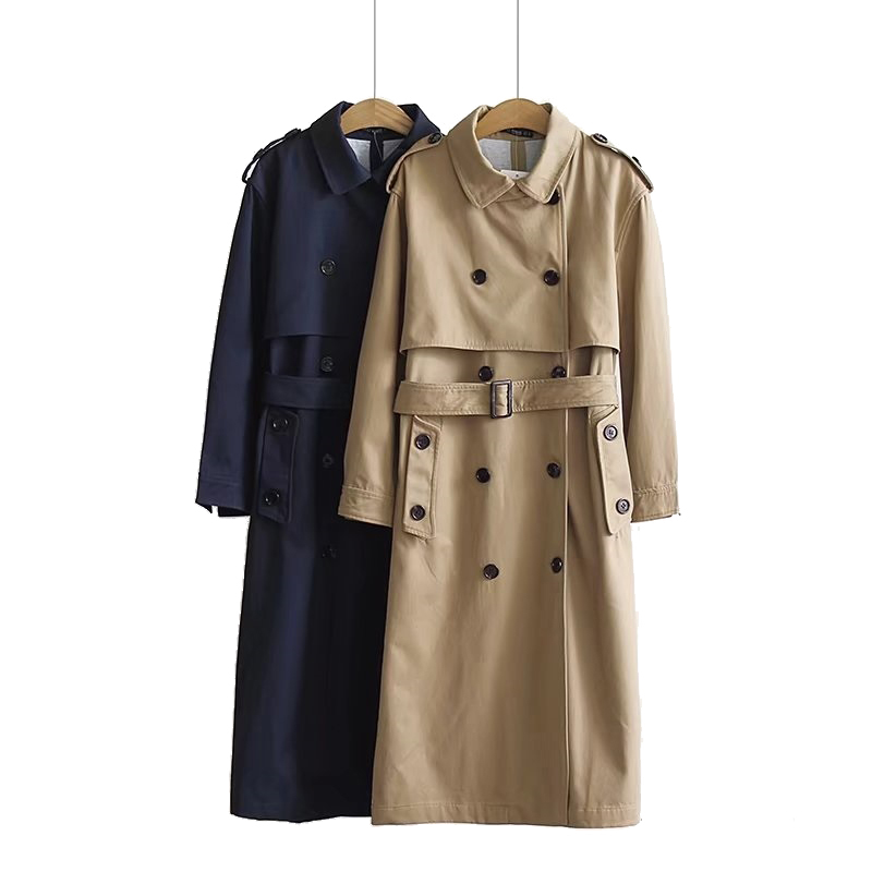 Classic Double Breasted   Trench   coat Women Windbreaker With Belt fashion Lady Elegant Slim long Coat Casual spring Autumn Outwear