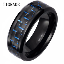 Mens Blue Black Grid Inlay Ceramic Ring New Fashion Simple Style 2016 Free Shipping