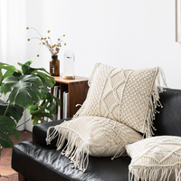 Pillow Cover Fringed Macrame Hand woven Cotton Pillowcase Geometry Home Decor Living Room Decoration Pillows Cushion Cover