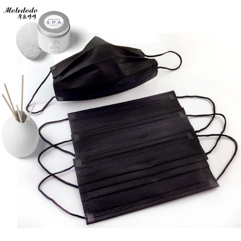 Moledodo 10Pcs/bag Disposable Non Woven Black Face Mask Medical Dental Earloop Anti-Dust Flu Mouth Mask Pm2.5 Disposable Mask
