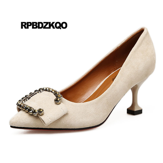 Diamond Pointed Toe Kitten Cheap Female Nude Formal Size 4 34 Suede Closed Chic -2196