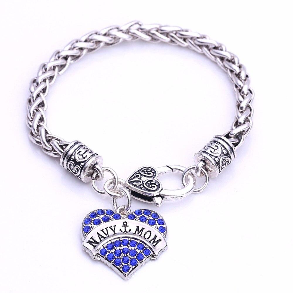 Navy Mom Charm Bracelet
