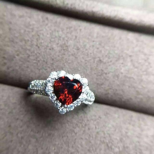 Naturliche Rote Granat Stein Ring Naturlichen Edelstein Ring S925