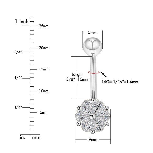 Кольцо на пупок со стальным прозрачным фианитом стильное ювелирное