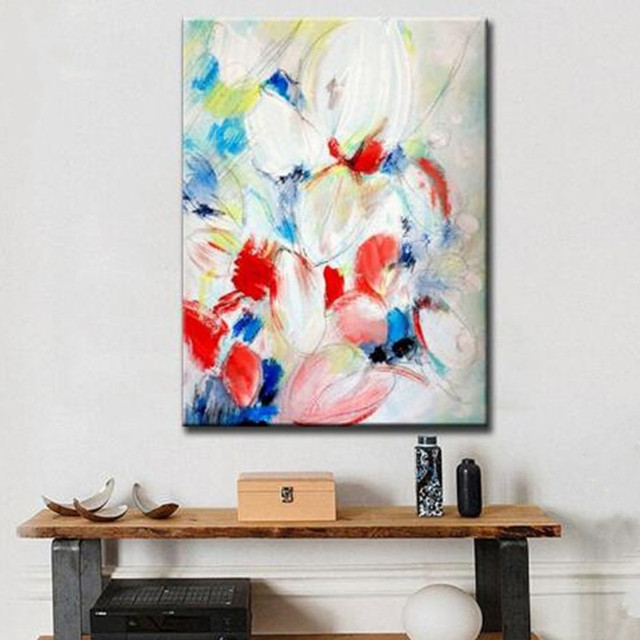 hand painted abstract knife flower oil painting on canvas handmade