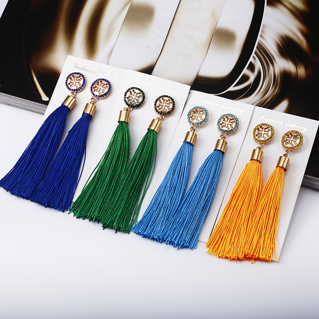 E0469 New Women Tassel Earrings Boho Bohemian Long Exaggerated Silk Fabric Dangl