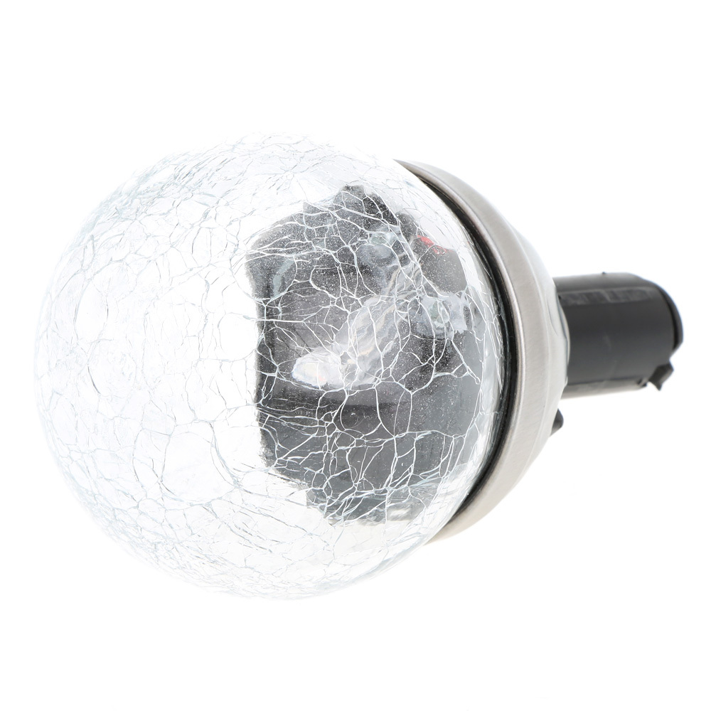 12 Stainless Solar Owl Crackle Glass Ball Landscape Path Light Color Changing