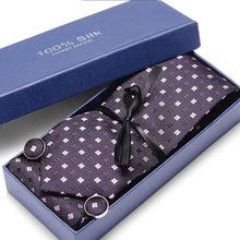 Gift Box New Pink Tie For Wedding Men's Ties Set With Hanky Cufflinks 100% Silk Men Neck Tie For Male Wedding Party Business 2019 new arrival 32styles purple black ties for men 100% silk male men s tie hanky cufflinks neck tie pocket square tie set