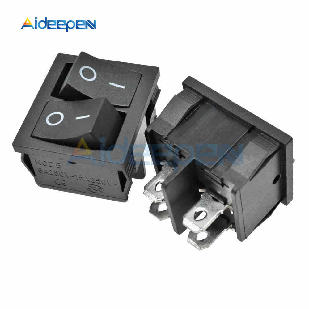 1 PC KCD5 4PIN Doppio Latch Rocker Interruttore ON-OFF Interruttore di Accensione a Pulsante Interruttore Altalena Interruttore 6A 250 V AC Nero