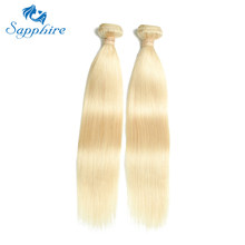 Sapphire 1PCS Blonde Human Hair Extension 613 Blonde Brazilian Hair Weave Bundles Straight Human Hair Bundles 613 Bundles Deal(China)