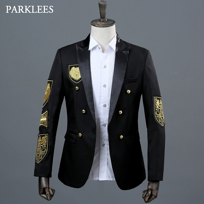 652f6e1ab6 US $39.81 20% OFF|Gold Medal Embroidery Blazer Jacket Men Casual Lapel  Double Breasted Mens Black Suit Stage Prom Show Singer Military Dress  Homme-in ...