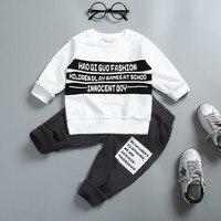 0 4 Years 100 Cotton 2017 Autumn Winter Fashion Letter Children Clothing T Shirt Pant Kid