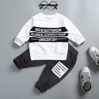 0 4 Years 100 Cotton 2017 Autumn Winter Fashion Letter Children Clothing T Shirt Pant Kid