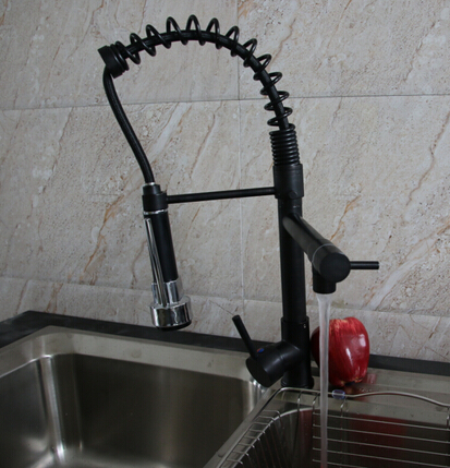 Oil Rubbed Bronze Spring Kitchen Faucet Spring Spout Deck Mounted Single Handle Hole Vessel Mixer