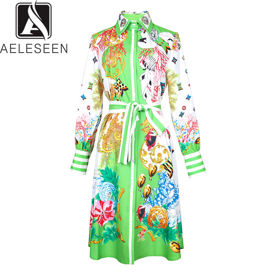 AELESEEN Elegant Dresses 2019 Summer Fashion Animal Floral Printed Beading Full Lantern Sleevee Green Knee Length